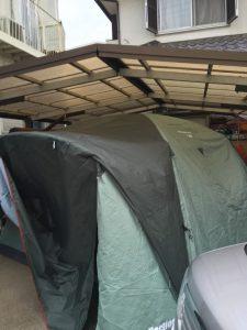 早朝からテントを1人で張ってみました^ ^