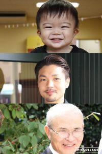 息子→僕→父 浮田3世代の退化の模様。 3人共赤ちゃんの頃は激似です! いずれ僕と息子はじいさんのようになるかも…