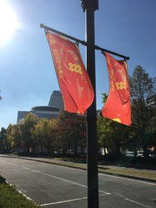 大阪ではいたるところに真田旗が。