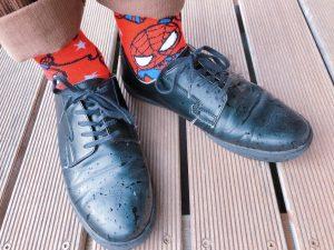 靴下もスパイダーマン。